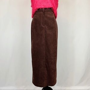 Christopher & Banks Brown Faux Suede Midi Skirt 8